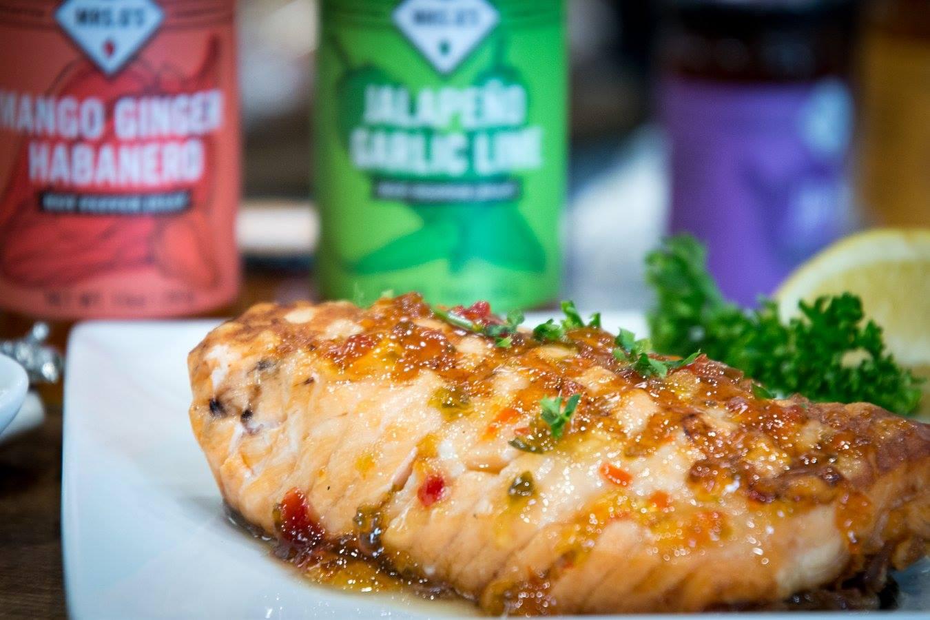 Salmon with Mango Habanero Glaze
