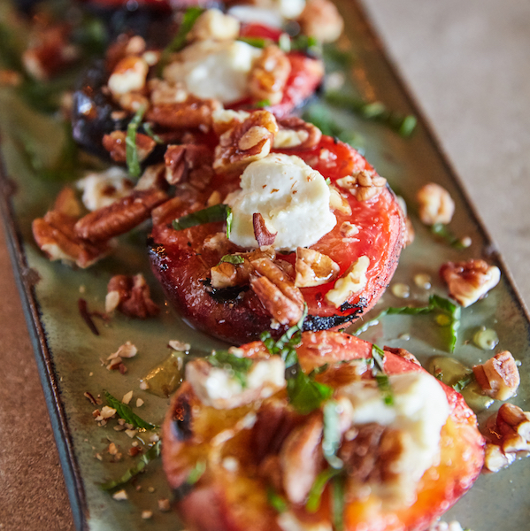 Grilled Peaches with Goat Cheese, Toasted Pecans and Pepper Jelly